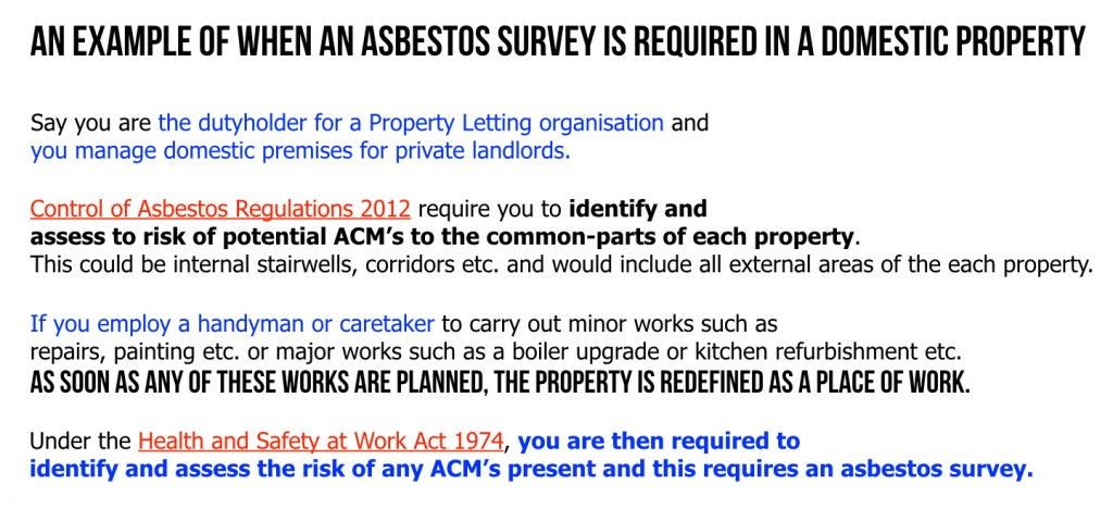 Asbestos survey, domestic premises