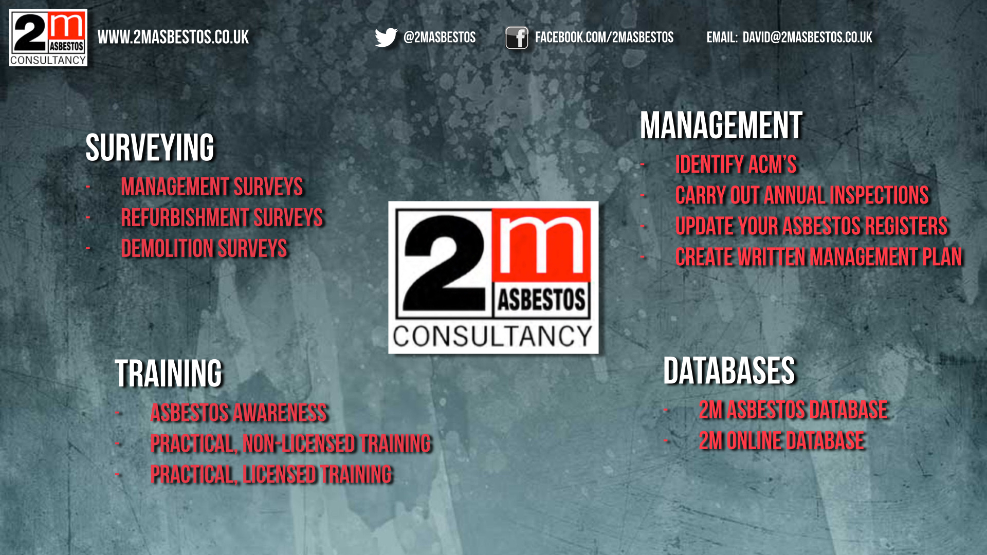 2M Asbestos Survey Management Training Databases